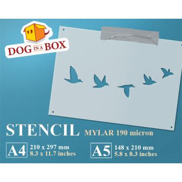 Birds flying stencil -...