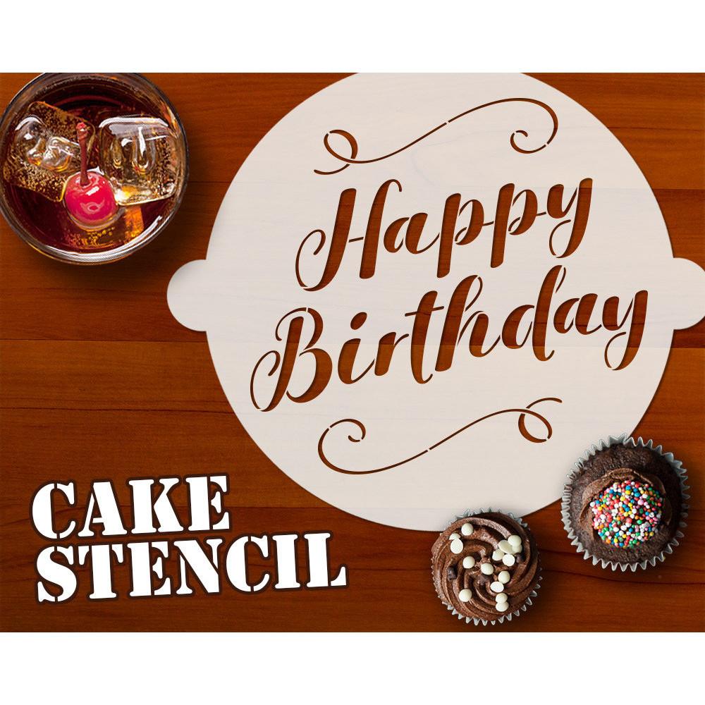 Magnificent Happy Birthday Cake Stencil Cake Decor Stencil Birthday Cards Printable Benkemecafe Filternl