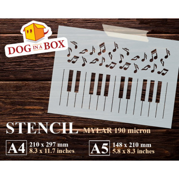 Piano Keyboard stencil -...