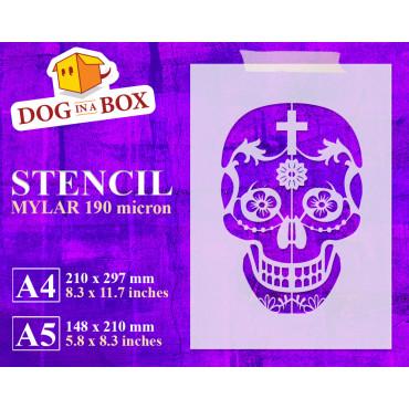 Sugar Skull stencil n.3 -...