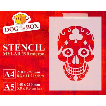 Sugar Skull stencil n.4 -...