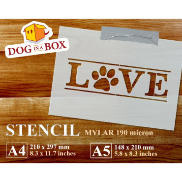 Love pawprint stencil -...