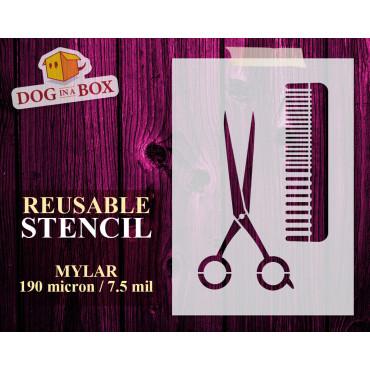 Scissor and Comb stencil...