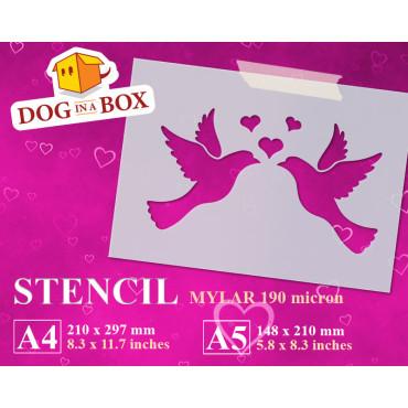 Love Doves stencil -...