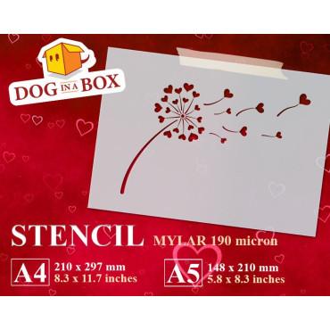 Hearts Dandelion stencil -...