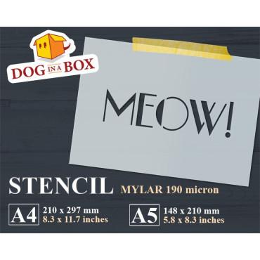 Meow stencil - Reusable cat...