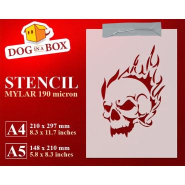 Fire skull stencil -...